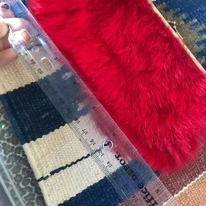 Vintage Bags - Vintage INGBER Real Rabbit Fur Red Clutch So Soft!